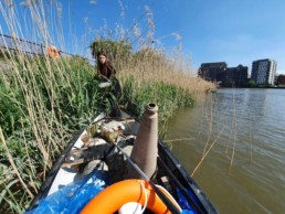 Picking litter out of a bank of reeds